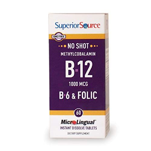 Superior Source No Shot Methylcobalamin Vitamin B12/B6/Folic Acid Tablets, 60 Count