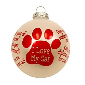 "Christmas Cat Ornament Holiday ""I Love My Cat"" Pet Ornament Kitty Christmas Tree Ornament (3"" Round Ball Glass)"