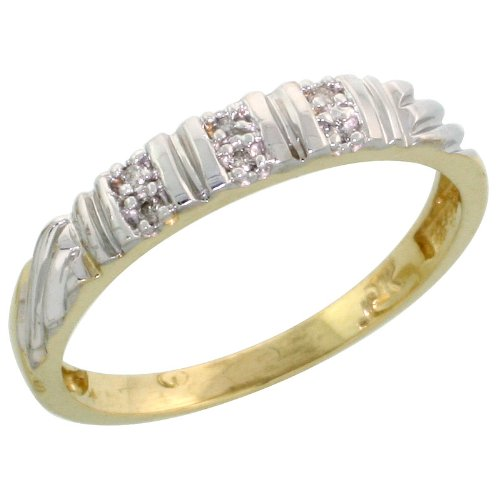10k Yellow Gold Ladies Diamond Wedding Band Ring 0.03 cttw Brilliant Cut, 1/8 inch 3.5mm wide, Size 10