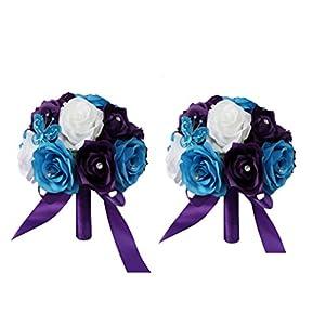 "2 Wedding Bouquets - (8"") - Turquoise Purple White Rose 21"