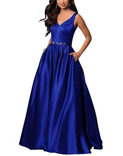 yinyyinhs V Neck Prom Dresses Long Stain Evening Ball Gowns Beaded Formal Dress Royal Blue Size 16