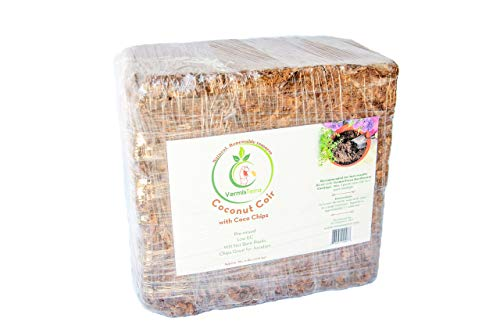 VermisTerra – Coco Coir and Chips, Compressed Brick – Approx 9 LB (1.7 cu ft) – for Container Garden and Potting Mix