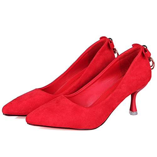 Talon 5 UK6 Pour Chaussures Confort CN40 Aiguille de l'Office PU US8 Pompes Noir DIMAOL Rouge Chaussures Talons Rouge Base Hauts EU39 Mariage Automne de Carrière de 5 amp; Femmes Pour tqwpwnYv4