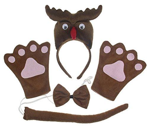 Gloves Devil Costume Accessory - Devil Demon Bull Horns Halloween Festival Party Show Celebration Accessory Decoration Animal Cosplay Costume Suit Headband+tie+gloves (Child)