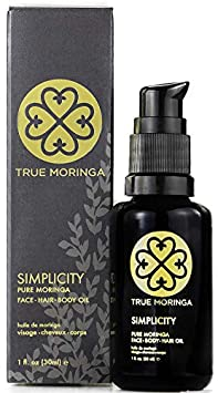 True Moringa Oil – 100 Pure Cold-Pressed Moringa Oil for Face, Body, Hair 1oz 30mL