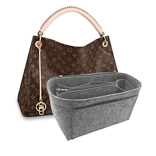 Purse Organizer, Multi-Pocket Felt Handbag Organizer, Purse Insert Organizer with zipper,Handbag & Tote Shaper 9004 Grey Large
