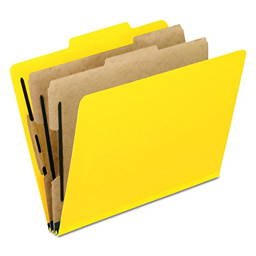 Pendaflex Top-Tab Pressboard Classification Folders, 2/5 Cut, 2 Dividers, Legal Size, Yellow, 10 Per Box  (2257Y) (10 Folders Tabbed File)