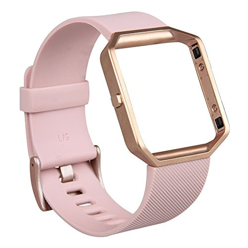 Fitbit Blaze Band, Classic, Small Pink V-Moro Silicon Bracelet Strap Replacement Band with Metal Frame Rose Gold For Fitbit Blaze (Silicon Pink&Metal Frame Rose Gold - - Blaze Rose