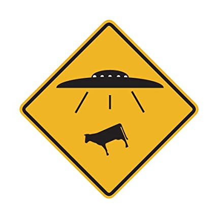 Amazon.com: UFO Alien Cow Abduction Traffic Sign Repositionable Wall ...