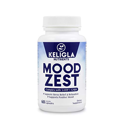 Mood Zest- Serotonin Mood Booster for Anxiety Relief | Healthy Sleep | Appetite Suppressant for Weight Loss| Wellness & Brain Support - 5-HTP | GABA Plus Vital Vitamins 60 Veggie Capsule