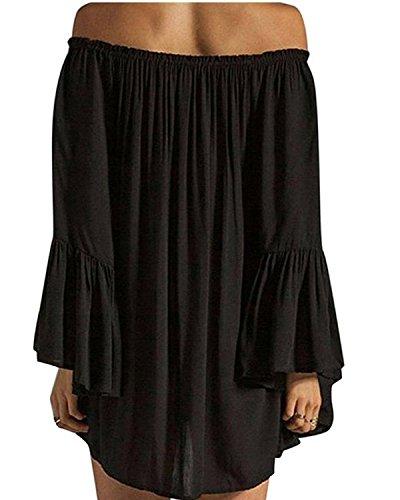Minetom Mujeres Vestido Con Manga del Loto Cuello Ancho Mini Dress Negro