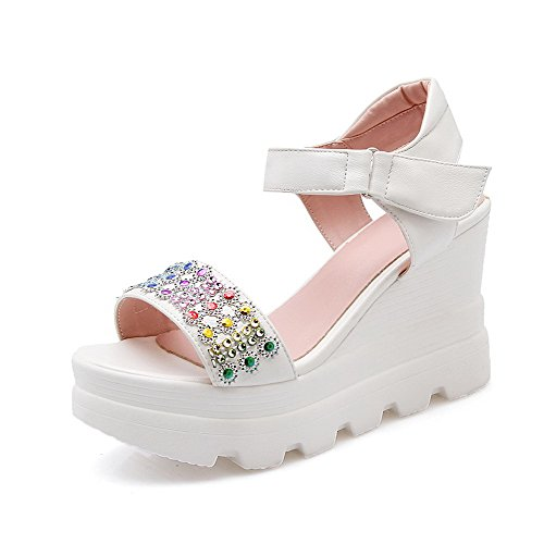 AllhqFashion Women's Open Toe Hook And Loop Pu Studded High Heels Sandals White 8sWG6yM