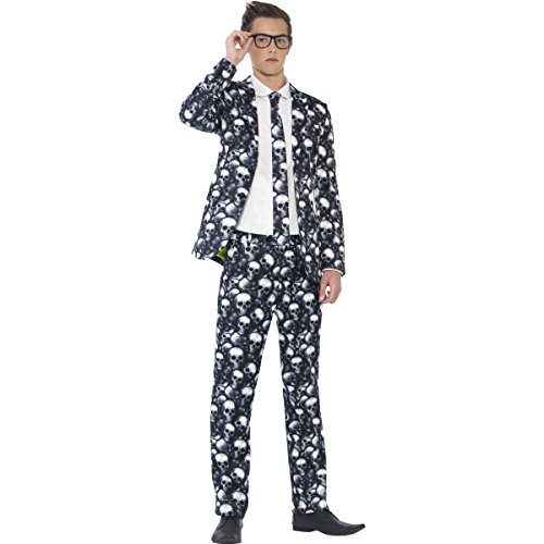 Fun Halloween Costumes For Teens (Smiffy's Men's Skeleton Suit, Jacket, pants and Tie, Stand out Suits, Serious Fun, Size XS, 44217)