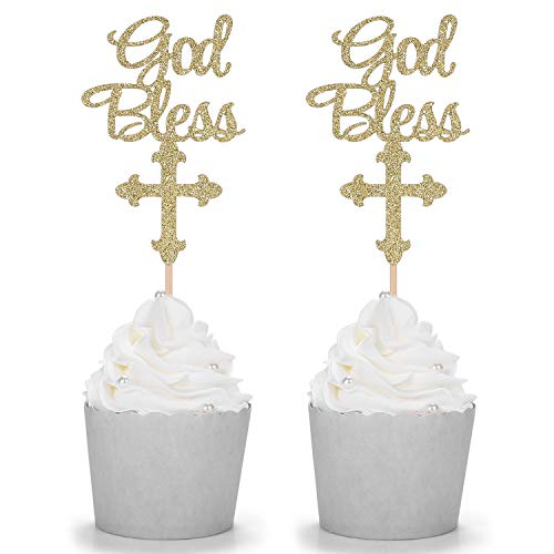 12 Counts Glitter God Bless and Cross Cupcake Toppers Party Picks - Gold (Chocolate Confirmation Molds)
