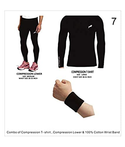97388058953e Rider Full Length Compression Lower With Full Sleeve T-shirt 100% COTTON  Wrist band