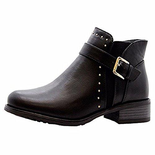 Boots UK Block Ladies Chelsea Size Heel Black Low Buckle Womens 8 Biker Strap Shoes Stud Ankle qqxw6EvUC