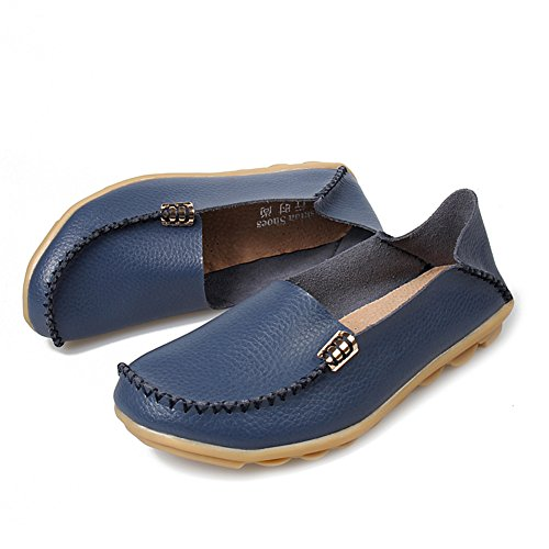 fereshte Womens Fashion Genuine Leather Loafers Casual Slip-on Soft-soled Flat Shoes for Driving Shopping Low-cut Dark Blue nno3Y
