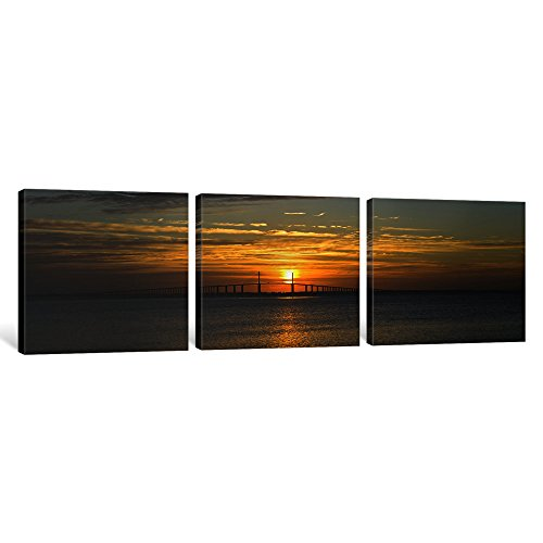 iCanvasART 3 Piece Sunrise over Sunshine Skyway Bridge, Tampa Bay, Florida, USA Canvas Print by Panoramic Images, 36
