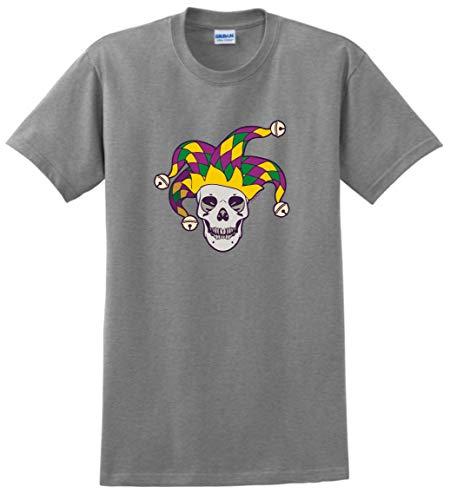 Tri-Color Mardi Gras Skull Jester Skulls Mardi Gras Outfit Jester Skull Mardi Gras Attire T-Shirt 4XL SpGry Sport Grey]()