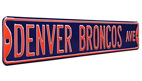 Fremont Die NFL Denver Broncos Metal Wall Décor- Large, Heavy Duty Steel Street Sign