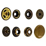 SN15B50-SP Snap Button, Cap 15mm, Short Post, Ring Socket, Antique Brass, Solid Brass (100 per bag)