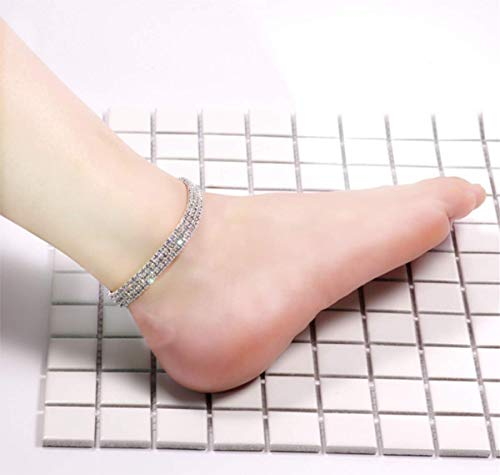 (Aimys Sexy Anklets for Women Crystal Rhinestone Stretch Tennis Ankle Elastic Bracelet Twinkle Diamond Bridal Summer Jewelry)