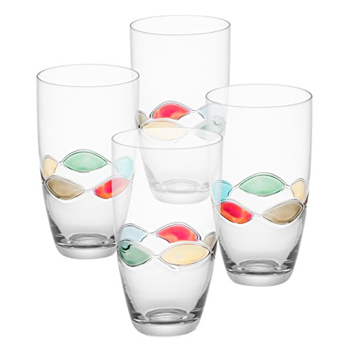 (Trinkware Set of 4 Highball Glasses With Hand Painted Colored Design | Drinking Glasses | Stemless Cocktail Tumblers | 20oz, 6-inches Tall )