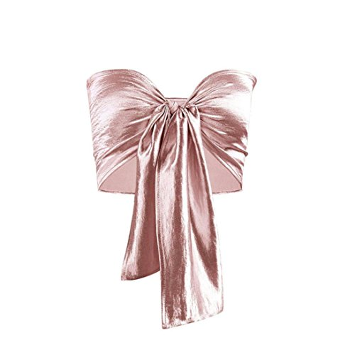 Gold Tour Short - Tsmile ღwomen Vest✿ ClearanceSummer Womens Bowknot Tube Crop Top Vest Tank Shirt Blouse Strapless Tops (Rose Gold)