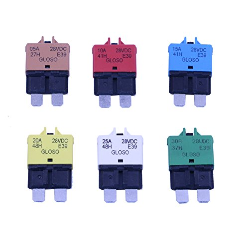 T Tocas Manual Reset Low Profile ATC Circuit Breakers 12V - 28VDC 5A 10A 15A 20A 25A 30A (Mixed)