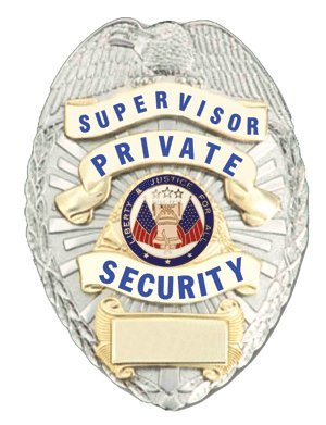 Supervisor Private Security Gold on Silver Shield - Security Gold Badge