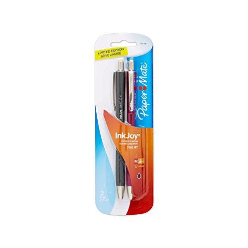 Paper Mate InkJoy 700RT Retractable Ballpoint Pen, Medium Point, Fashion Barrel/Black Ink, 2-Pack (1862435)