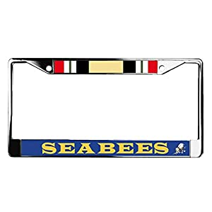 Navy Seabees + Iraq Ribbon License Plate Frame by VetFriends.com