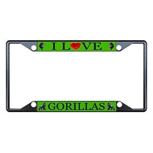 License Plate Covers I Love Gorillas Animal Black License Plate Frame Tag Holder Four ()