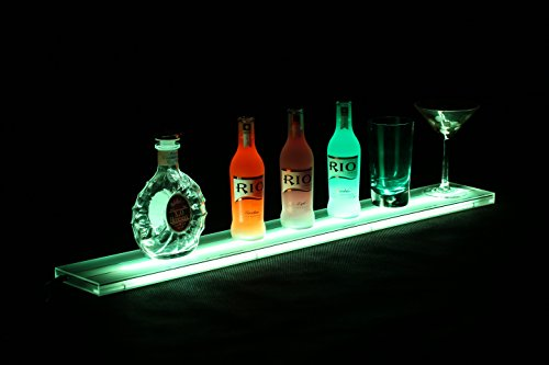 Chivasing LED Lighted Liquor Bottle Display Shelf With Multi Colors 3FT Home Bar Lighting Shelves Includes Wireless Remote Wall Mounts Power Supply (35 Inches) (35 Inch Wall Shelf compare prices)