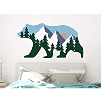 Bear Wall Decals. Woodland Wall Mural. Mountains Vinyl Sticker. Pine Tree Decor. Woodland Bear Kids Bedroom PS136
