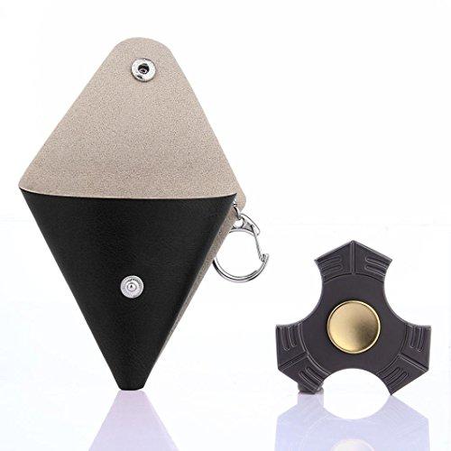 Creazy 2017 Gift For Fidget Hand Spinner Triangle Finger Toy Focus ADHD Autism Bag Box Case (Black) creazydog