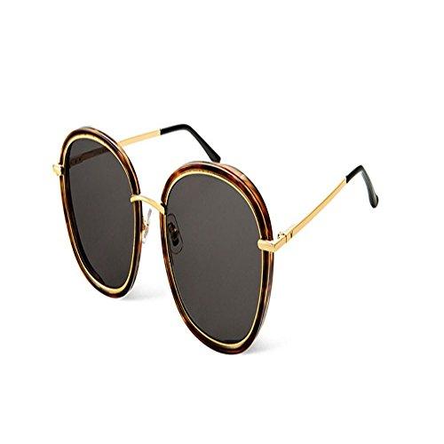 gafas mujeres de para Gafas Shop Gafas Concha gafas redondas sol de sol 6 hombres Tortuga gran sol montura de de y plateadas de a11zwx4
