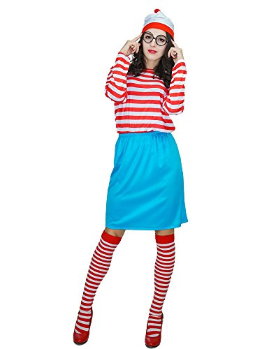 [Women's Where's Wally Wenda Costume (M, stripe)] (Wheres Wally Fancy Dress Kids)