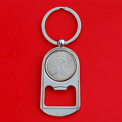 US 2007 Idaho State Quarter BU Uncirculated Coin Silver Tone Key Chain Ring Bottle Opener NEW