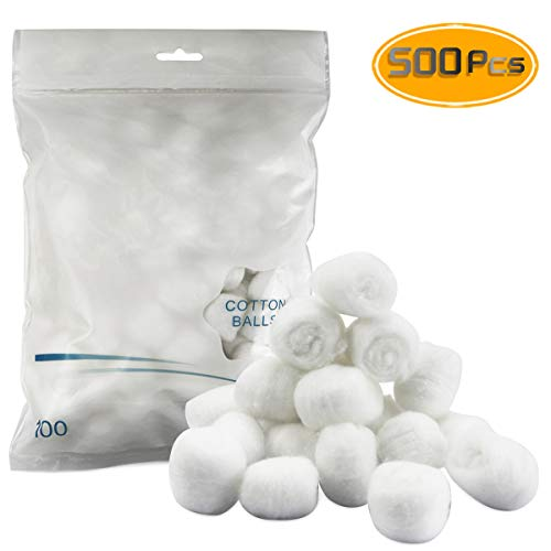 Heatoe 5 Packs Large-sized Cotton-Balls (500 Count),Non aseptic health Cotton-balls,Cleaning equipment,Aid Kit Guide(Diameter-2cm, Weight-0.5g).