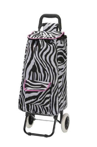 (Rockland Luggage Rolling Shopping Tote, Pink Zebra, One Size)