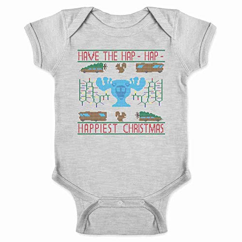 (Pop Threads Have The Hap-Hap-Happiest Christmas Sweater-Style Gray 18M Infant Bodysuit)