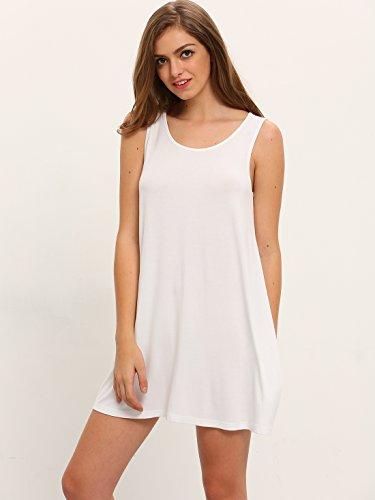 femme Shirt Casual mini ROMWE Tunique Dbardeur Blanc Robes Top T YnwnP0x7B