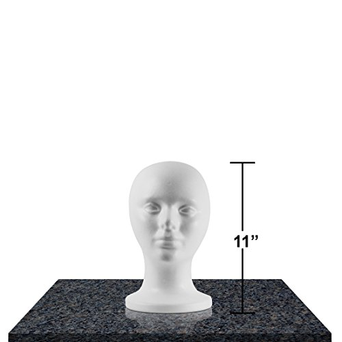 Styrofoam Head Mannequins - Style, Model & Display Women's Wigs, Hats & Hairpieces - by Adolfo Designs - Standard Size Hat