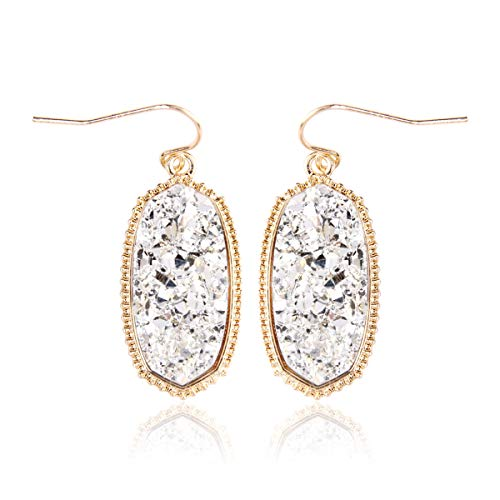 RIAH FASHION Lightweight Acrylic Stone Druzy Crystal Delicate Earrings - Sparkly Geometric Decagon Oval Drop, Polygon Hook Dangles, Hexagon Studs (Oval Hexagon Medium - ()