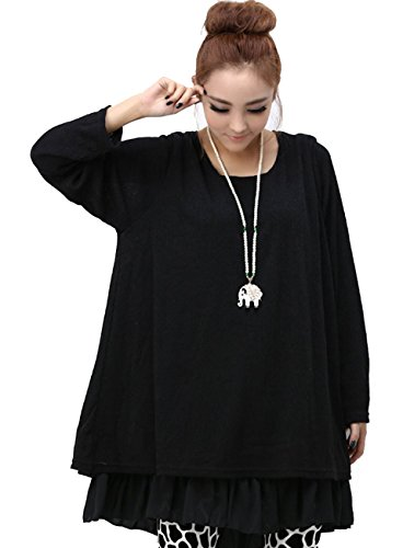 WANTU Womens Loose Bow Knot Ruffle Chiffon Blouse Tunic Sweater (US 22w-24w, black)