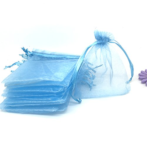 YIJUE 100pcs 4x6 Inches Drawstrings Organza Gift Candy Bags Wedding Favors Bags (Light Blue)