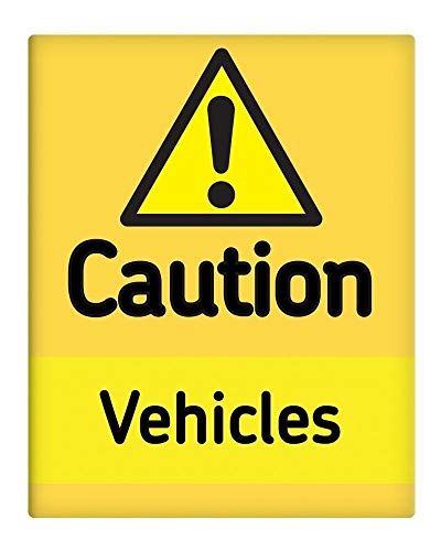 """PotteLove Caution Vehicles 7""""X10"""" Metal Sign Safety Construction Site Business Plant from PotteLove"""