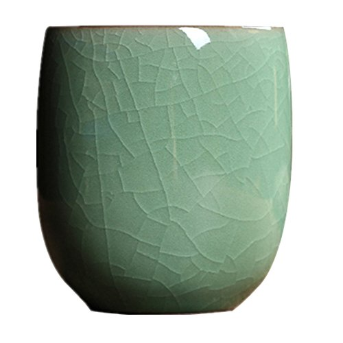 Teacups 5-Ounce Japanese Style Coffee Cup Glazed-Cracked Porcelain Mugs Beer Handmade Celadon(1,Army Green Cracking) from TeaCups