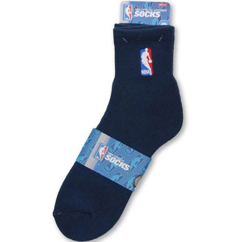 Nba Bare Feet Quarter For Socks - NBA Logoman Quarter Length Sock - Navy - Navy Large